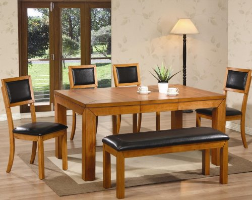 Coaster 6pc Dining Table Chairs And Bench Set In Natural Finish VF Dinset 102131 102132