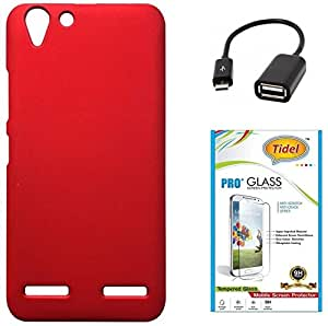 Tidel Red Rubberised Slim Hard Case Back Cover For Lenovo Vibe K5 Plus With Tidel 2.5D Curved Tempered Glass & Micro OTG Cable