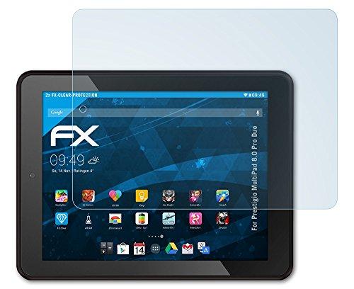 2 x atFoliX Prestigio MultiPad 8.0 Pro Duo Schutzfolie Folie - FX-Clear kristallklar