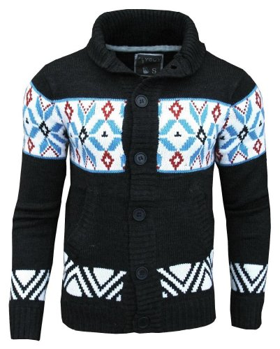 Fly Guy Men's Aztec Mason Shawl Neck Fashion Cardigan Jumper Charcoal / Blue / Deep Red Large