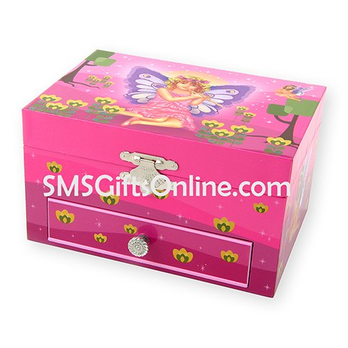 Mystical Pink Fairy with Purple Butterfly Wings Playing Flute Pink Children Musical Jewellery Box with One Drawer
