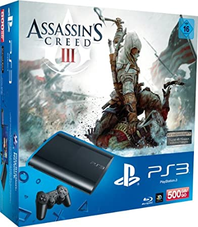 PlayStation 3 - Konsole Super Slim 500 GB (inkl. DualShock 3 Wireless Controller + Assassin's Creed 3)