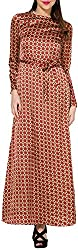 Folklore Women's A-Line Dress (FOJ6000170_Beige_Large)