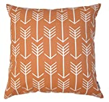 JinStyles Cotton Canvas Arrow Accent Decorative Throw Pillow Cover (Orange, White, Square, 1 Cover for 20 x 20 Inserts)