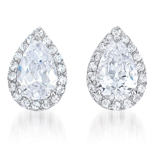 Designer Pear shape Style with Center C.Z. Rhodium Plated Sterling Silver Stud Earrings