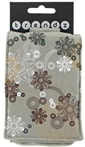 Trendz Universal Protective Case Cover Pouch with Zip and Carabineer for Smartphones, iPhones, iPods, MP3 Devices, and Cameras - Grey Flowers