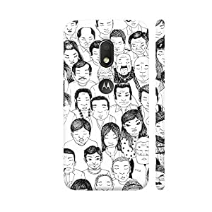 Colorpur People Sketch In Black And White Designer Mobile Phone Case Back Cover For Motorola Moto G4 Play with hole for logo | Artist: Pritpal Singh