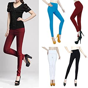 HDE Women's Colorful High Waisted Skinny Pull-On Pinup Pants