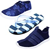 Desi Juta Combo Of New Latest Fashion Vamp Casual Canvas Derby Shoes,Motley Stylish Flip Flops And Harge Casual Synthetic Mocassion Shoes For Men/Mens/Men's