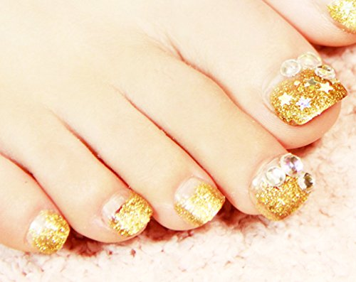 COCO つけ爪 ネイル キラキラ パール 風 ゴールド 華麗 アート 足の爪 自然な 透明感 つけ爪 のりセット 24片 自分の爪に合わせて選ぶ フリーサイズ