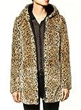 Sheinside Leopard Hooded Long Sleeve Faux Fur Coat (M, Leopard)