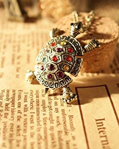 BUYINHOUSE Retro Rhinestone Crystal Turtle necklace with Chain