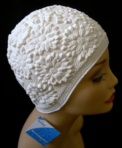 Daisy Latex Ladies Vintage Style White Swimming Hat Swim Cap Pretty