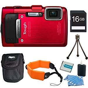 Olympus TG-830 iHS STYLUS Tough 16 MP 1080p HD Digital Camera Red 16GB Kit