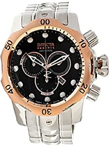 Invicta 10785 Reserve Men's Venom Swiss Made Quartz Black Dial Stainless Steel Bracelet Watch