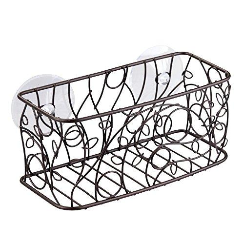 InterDesign Twigz Suction Bathroom Shower Caddy Basket for Shampoo, Conditioner, Soap - Bronze