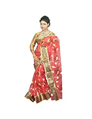 ABSTRA Women's Red Cotton With Gold Zari Paar With Golden And Black Shaded Hand Emboidery Handloom Tant Saree