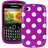 Polka Dot XYLO-GEL Skin / Case / Cover for your BlackBerry Curve Mobile Phone (Curve 8520 / 9300 3G, Purple With White Polka Dots)