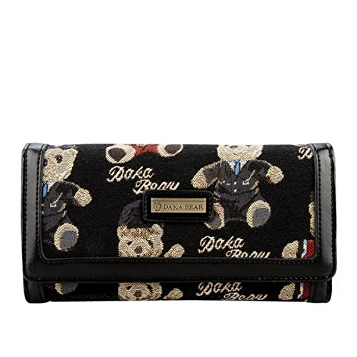 Daka Bear Jazz Bear Black Zipper Flip Wallet Clutch Bag Coin Purse