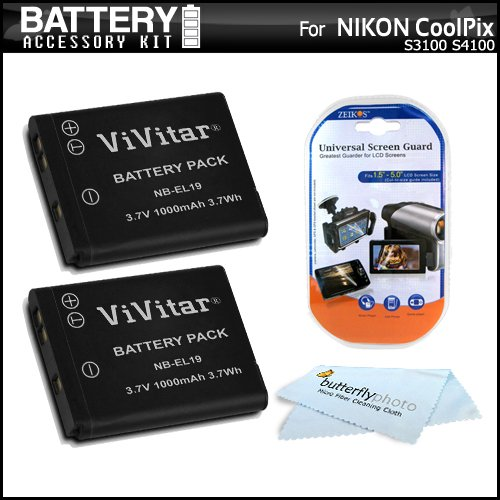 2 Pack Battery Kit For Nikon Coolpix S3500 S6400 S3100 S4100 S100 S4300 S3300 S5200, S6500, S3200, S4200, S6800, S5300, S3600, S32 Digital Camera Includes 2 Replacement Extended (1000Mah) En-El19 Batteries + Screen Protectors + Microfiber Cleaning Cloth