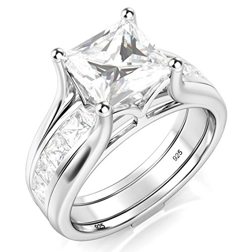 Sz 6 Sterling Silver 2Pcs 925 CZ Cubic Zirconia Engagement Wedding Band Ring Insert Set (Cubic Zirconia Ring Set compare prices)