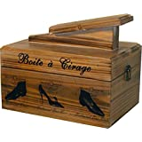 Traditional Style Wooden Shoe Shine Box With French Design