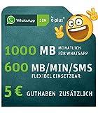 WhatsApp SIM by e-plus [SIM, Micro-SIM und Nano-SIM] - Prepaid Karte passend für jedes Handy - dazu 1000MB für WhatsApp jeden Monat frei - Starterpaket mit 600MB/MIN/SMS im ersten Monat inklusive, danach monatlich kündbar