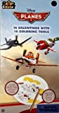 Disney Pixar Planes 16 Valentines Cards with Coloring Tools by Paper Magic