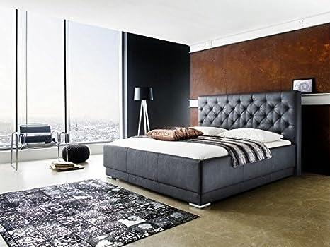 "Meise Möbel 1123-10-5000 Polsterbett in Boxspringoptik ""Pisa"" mit Kunderlederbezug, gestepptes Kopfteil, Liegefläche 180 x 200 cm, schwarz"