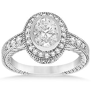 Allurez - Oval Halo Verlobungsring Einstellung W / Diamant 0.36ct Akzente Platinum