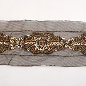 brown beaded trim by the yard beaded