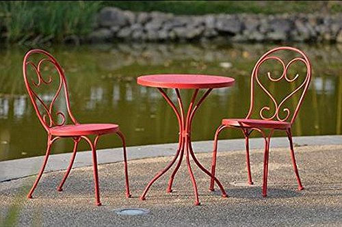 Small Space Scroll 3 Piece Chairs & Table Outdoor Furniture Bistro Set, Red, Seats 2 (Patio Furniture Small Space compare prices)
