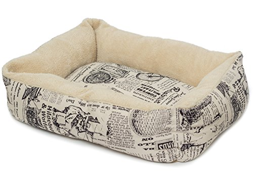 OxGord-Pet-Bed-for-Cat-and-Dog-Crate-Pad-Deluxe-Premium-Bedding-with-Cozy-Inner-Cushion-2016-Newly-Designed-Model-1800s-Newspaper-Design