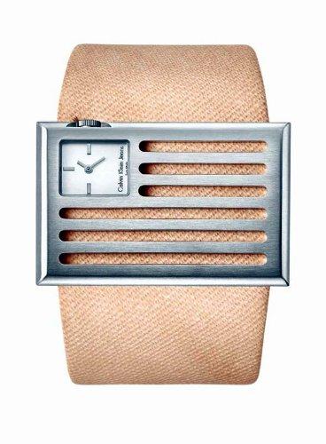 Calvin Klein K4513120 - Reloj de mujer de cuarzo, correa de textil color beige