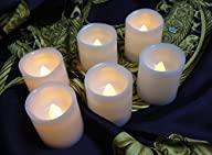 White Battery Operated LED Flameless Candles with Yellow Flickering Light, Set of 6, Best Home…
