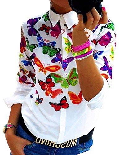 SaiDeng Donna Camicetta Stampata Casual Ufficio Elegante Manica Lunga Donna Fiore Farfalla M