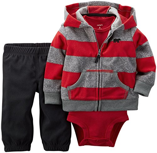 Carter's Baby Boys' 3 Piece Cardigan Set - Red/Grey/Black - 6 Months