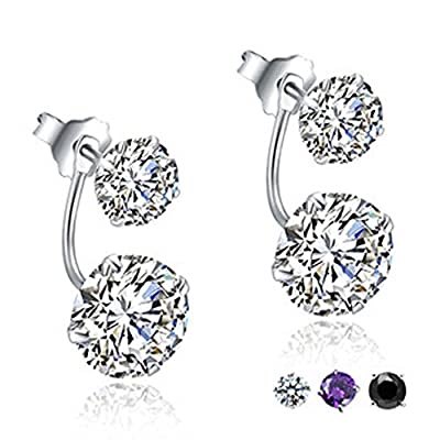 findout sterling silver double diamond two kinds of ways to wear earrings (f1515), size;. 7 mm 5 mm