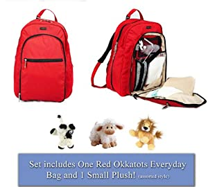 Okkatots Backpack Baby Diaper Bag & BONUS Small Plush Toy (Non-Personalized, Red)