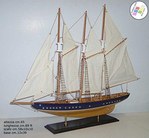 Barca a vela Veliero Yacht d'epoca Modello tre alberi in legno cm.69