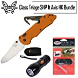 Benchmade 915-ORG Triage Rescue Knife Hook Axis Orange G10 With PP1 Pocket Pal Sharpener and Fenix E01 LED Flashlight Bundle