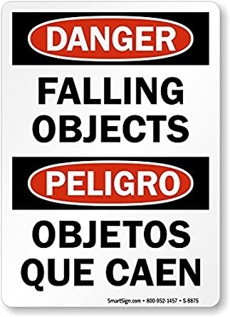 Danger Falling Objects / Peligro Objetos Que Caen, Aluminum Sign, 14