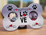 I Love My Dog Picture Frame - Dog Bone Shaped Double Photo Frame - Paw Prints and Love Adorn This Plaque - Great Gift for Any Dog Lover - 9 X 5.5 Inch