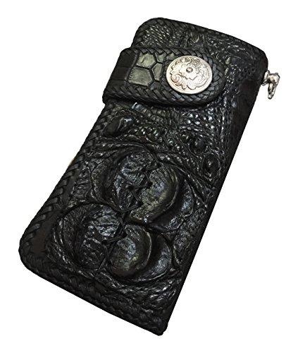 D'SHARK Luxury Biker Crocodile Skin Leather Bi-fold Snap Wallet (Black) 6