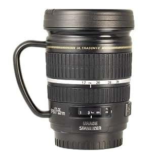 Tasse à café mug en forme d'objectif photo modèle EF-S 17-55mm en acier inox échelle 1:1 + housse DC248