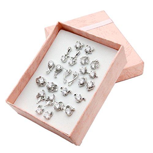 JOVIVI costellazione segno zodiacale costellazione orecchini con Strass orecchino orecchini da donna Set 12coppie Top con regalo Box