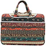 J-Bonest® Bohemian Style Canvas Fabric Ultraportable Neoprene Portable Laptop Carry Bag For HP Dell Sony Laptop Notebook Computer / Macbook Air/Pro 15.6 inch Sleeve Office Tote Briefcase Carry Case (15-15.6 Inches)