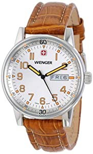 Wenger Men's 70170 Commando Day Date XL Silver Dial Brown Leather Strap Watch