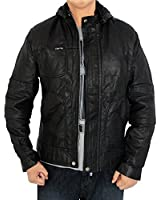 Outfitmakers Mens Stylish Wrinkled Hoodie Leather Jacket Black Small