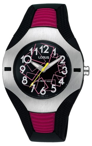 Lorus Watch Ladies Quartz Pink Black Silver RG297DX9